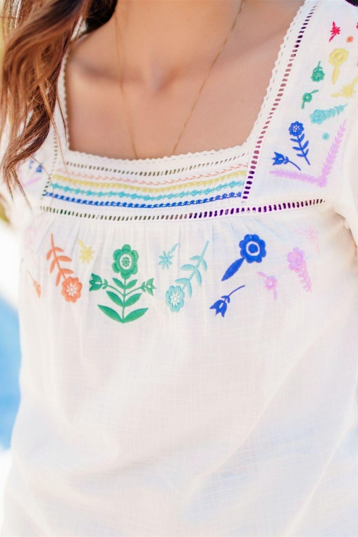 Sugarhill Brighton Alva Rainbow Flower Embroidered Top