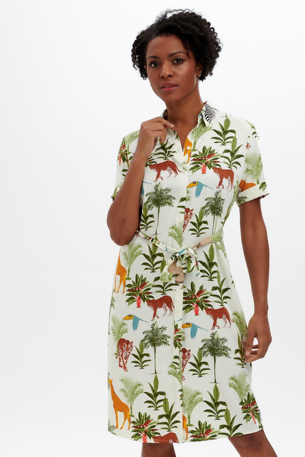 Sugarhill Brighton Justine Shirt Dress in Jungle Animals
