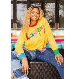 Queen of Sparkles Happy Glitter Script Sweater