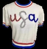 Queen of Sparkles USA Glitter Script Shortsleeve Sweater