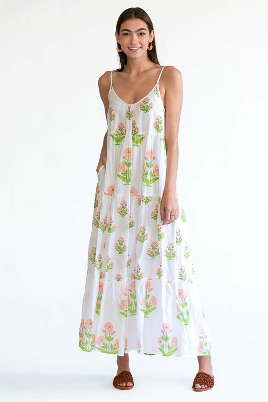 Olivia James the Label Emily Dress in Apricot Dahlia