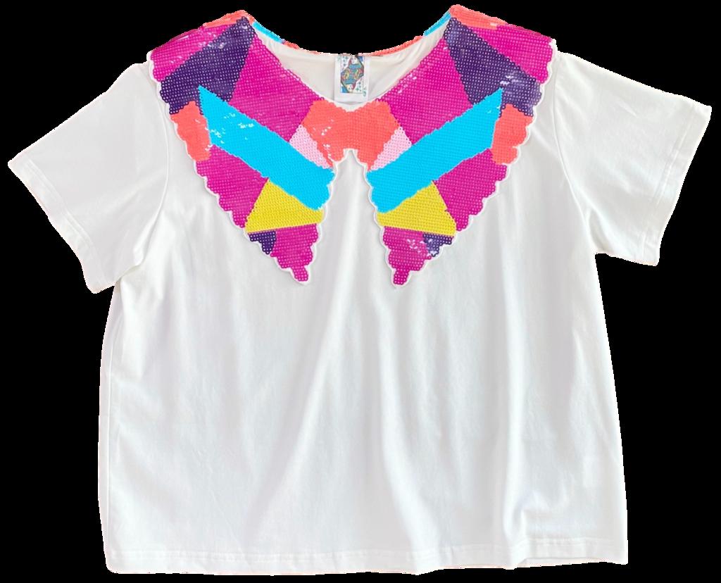 Queen of Sparkles Abstract Sequin Collar Tee