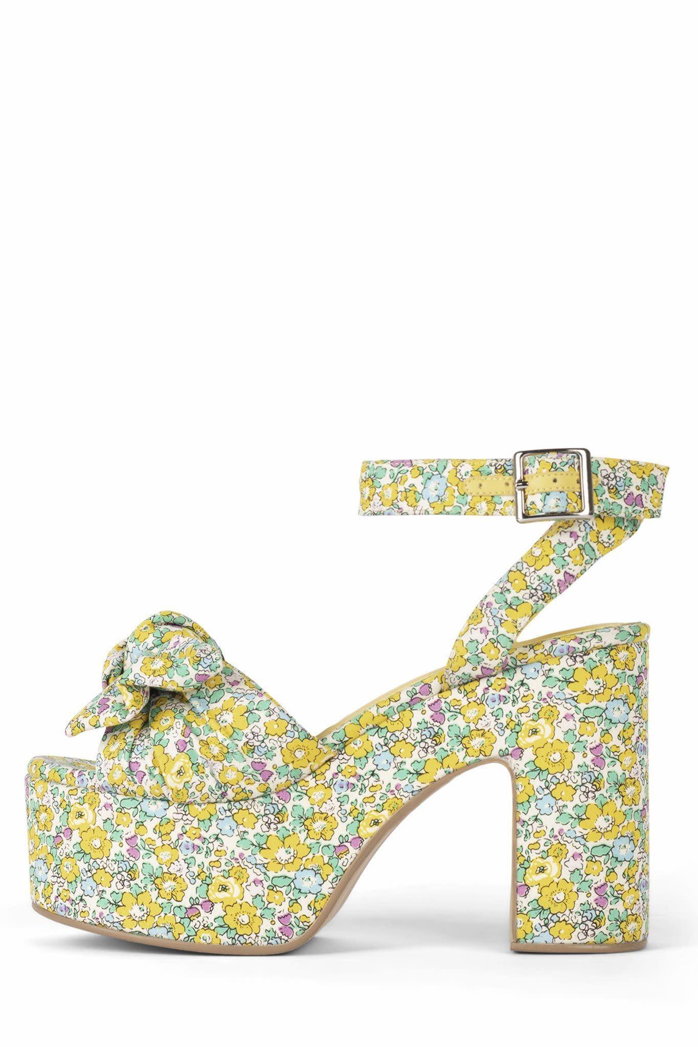 Jeffrey Campbell Pic-Nic Yellow Floral Platform