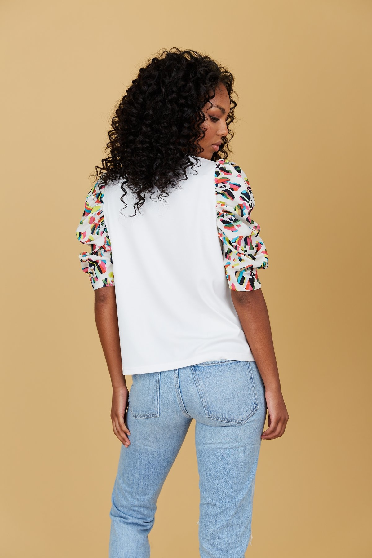 Crosby By Mollie Burch Rudy Top in White/Panthera