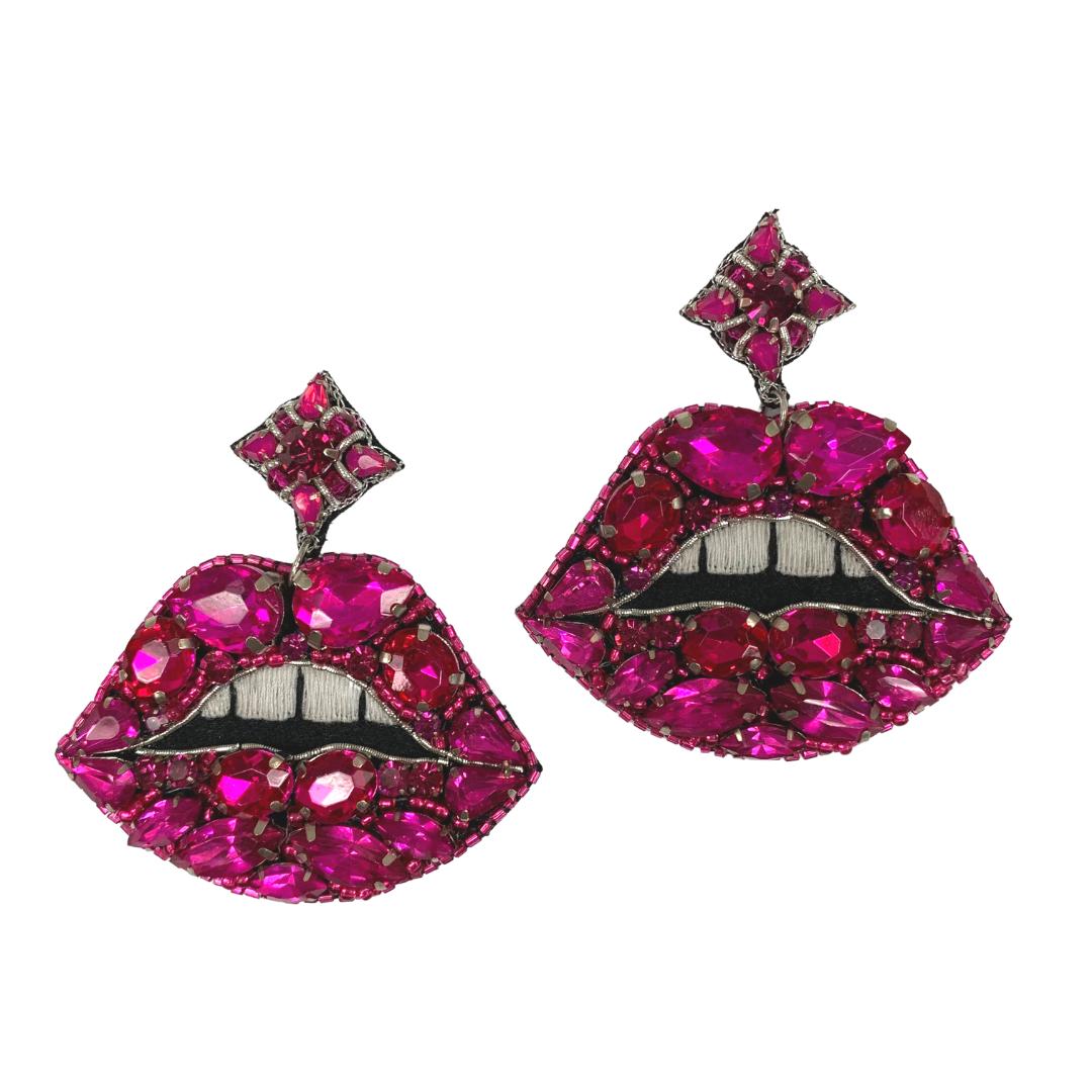 Allie Beads Magenta Jeweled Lip Earrings