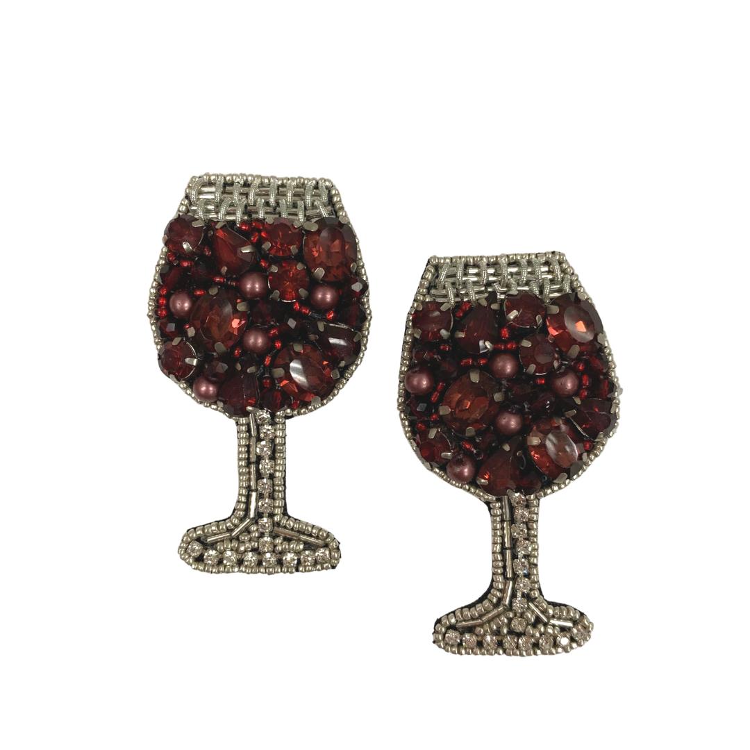 Allie Beads Red Wine Glass Earrings