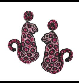 Allie Beads Pink Leopard Earrings