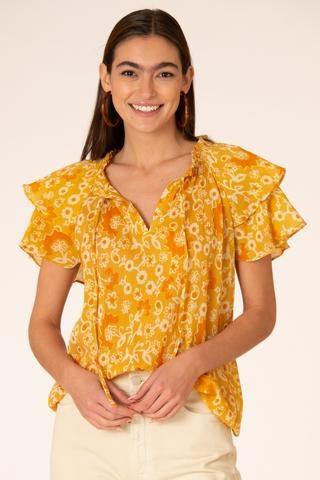 Olivia James the Label Astrid Top in Mustard Floral Vine