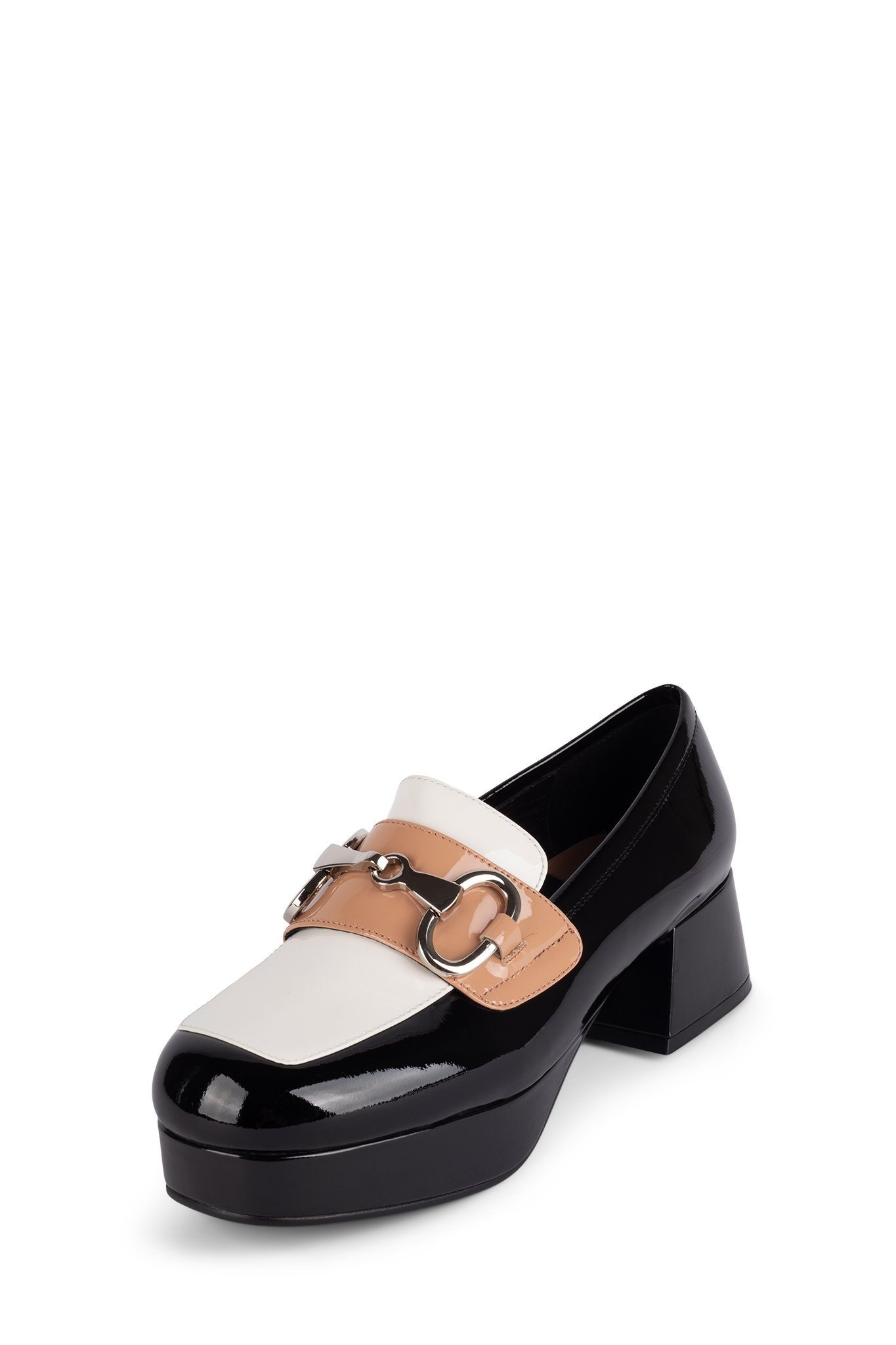 Jeffrey Campbell Student-2 Black White Nude Patent Combo