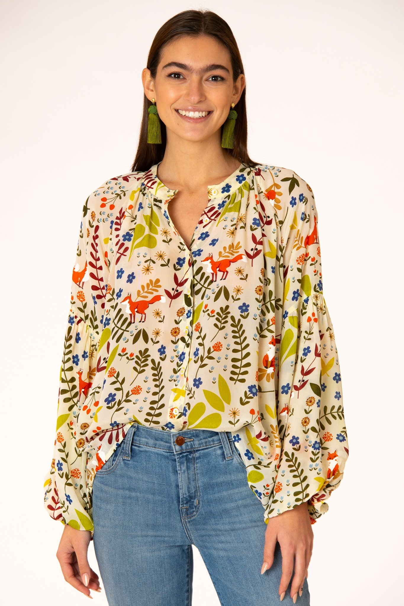 Olivia James the Label Emory Blouse in Almond Foxes
