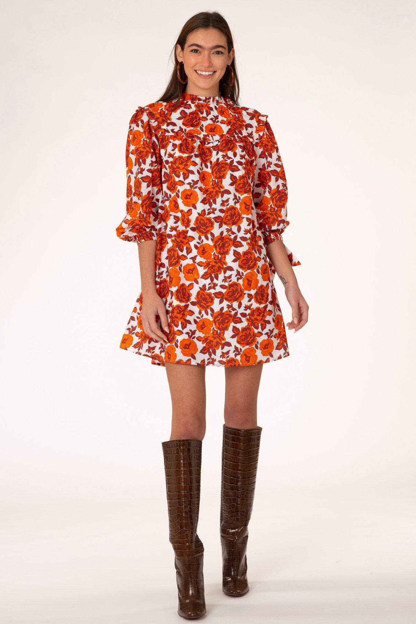Olivia James the Label Emma Dress in Harvest Tonal Roses