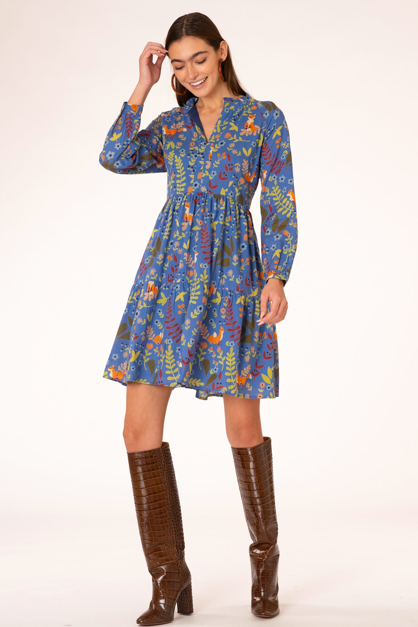Olivia James the Label Waverly Dress in True Blue Foxes