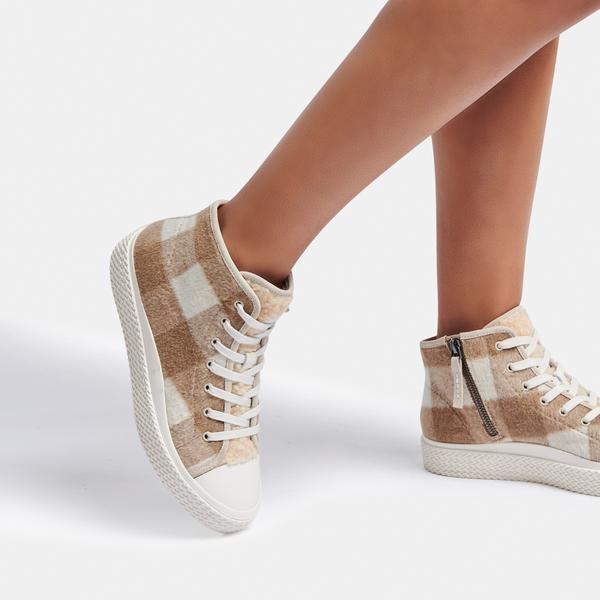 Dolce Vita Veola Plush Sneakers in Tan Multi Fabric