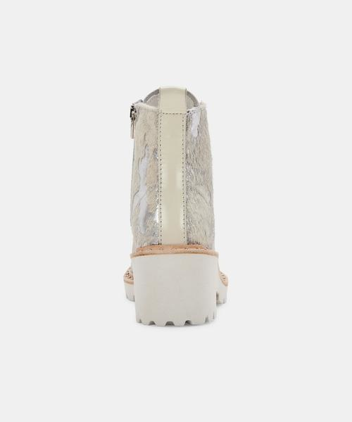 Dolce Vita Hinto Boots in Silver Metallic Calf Hair