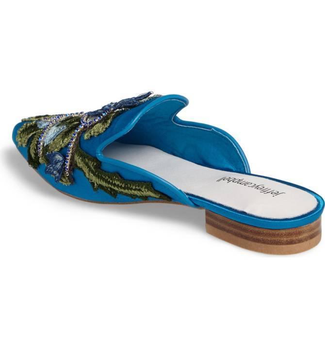 Jeffrey Campbell Claes Blue Velvet Slides