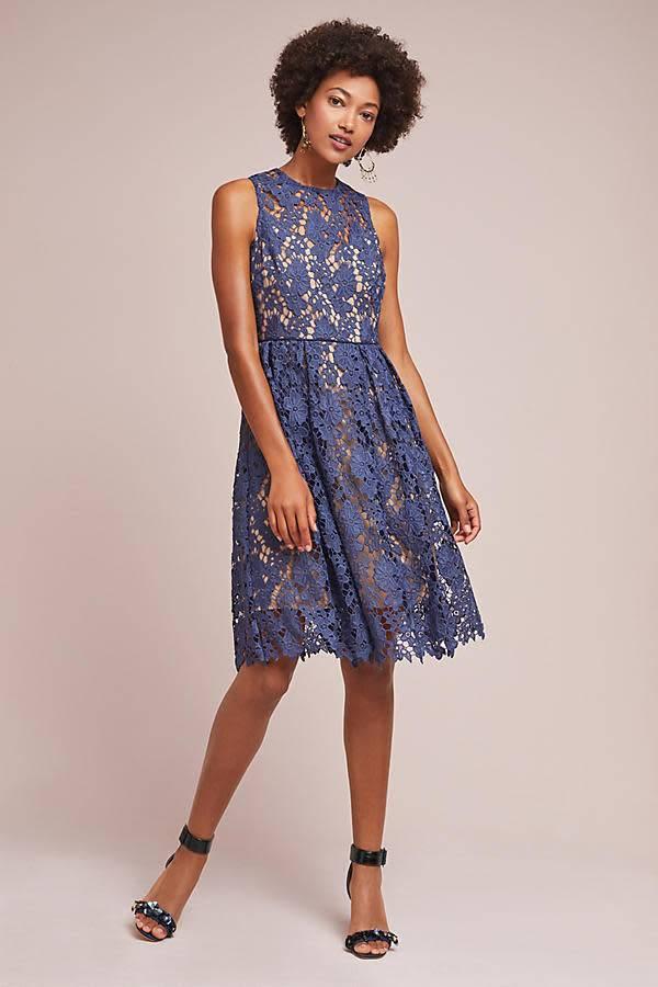 Donna Morgan Lisa Blue Lace Dres