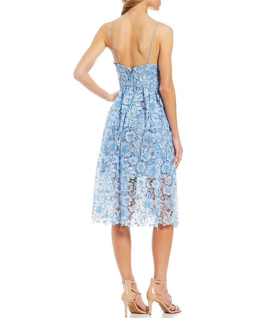 Donna Morgan Coraline Blue Lace Dress
