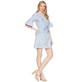 Donna Morgan Dylan Blue Embroidered Dress