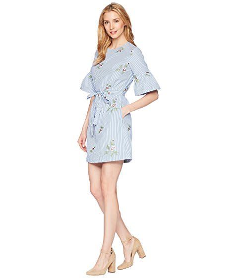 Donna Morgan Dylan Blue Embroidered Dress