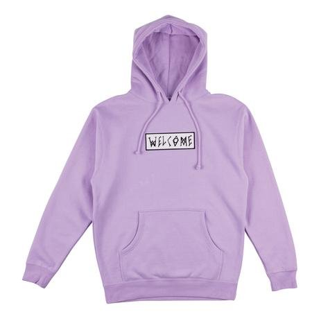 Welcome Skateboards Scrawl Embroidered Pullover Hoodie Lavendar