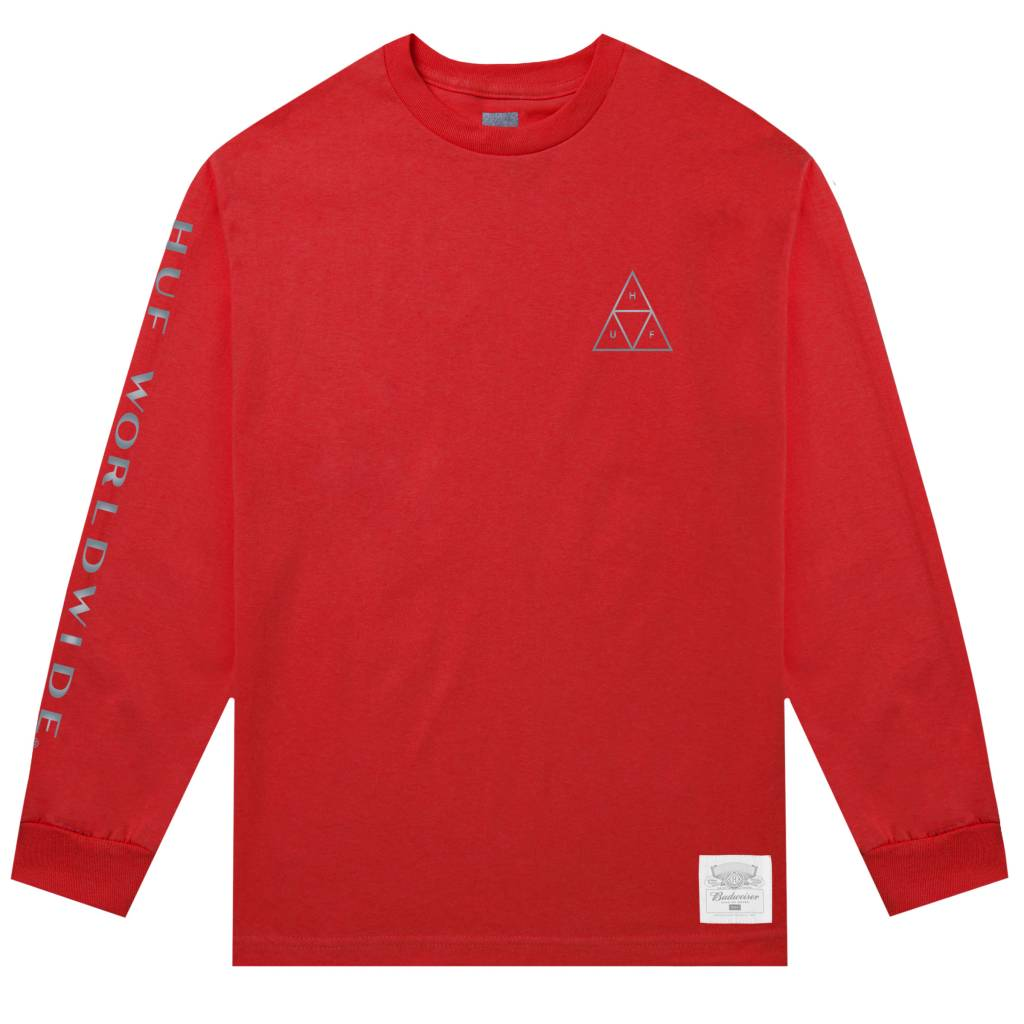 HUF Budweiser Triangle L/S Tee Red