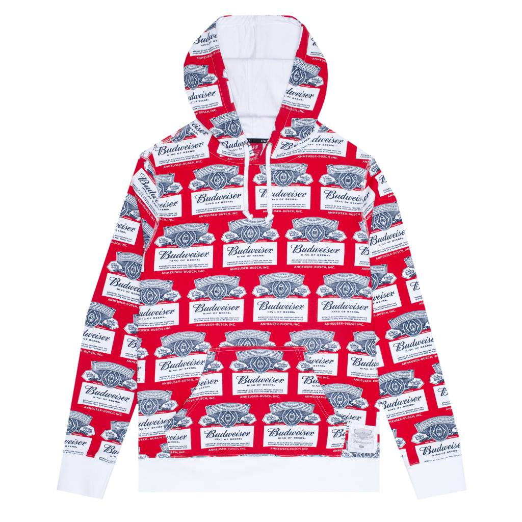 HUF Budweiser Label Hoodie Red