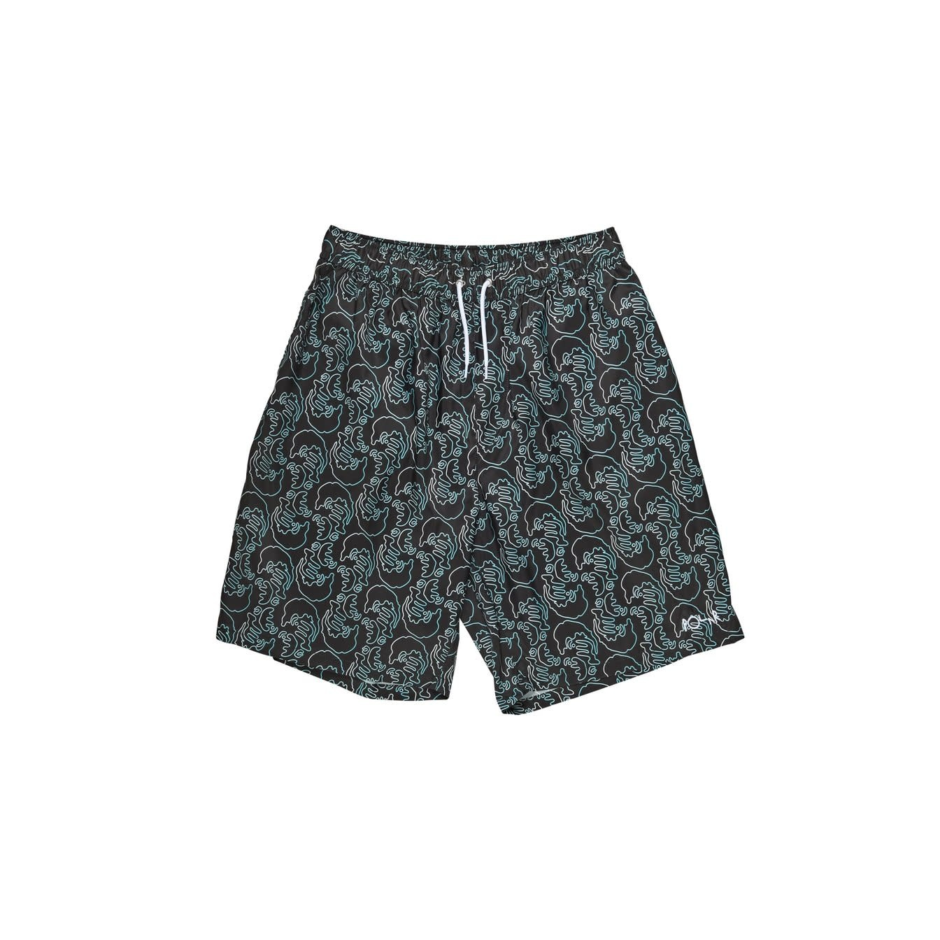 Polar Skate Co. Art Swim Shorts (Faces) Black
