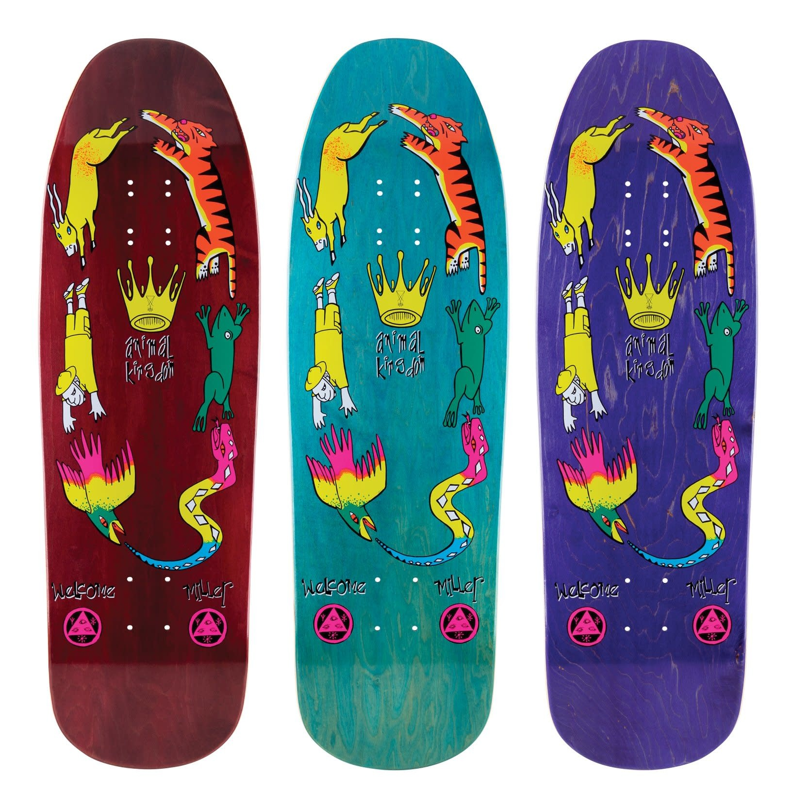 "Welcome Skateboards Animal Kingdom on Gaia 9.6"" Various Stains"