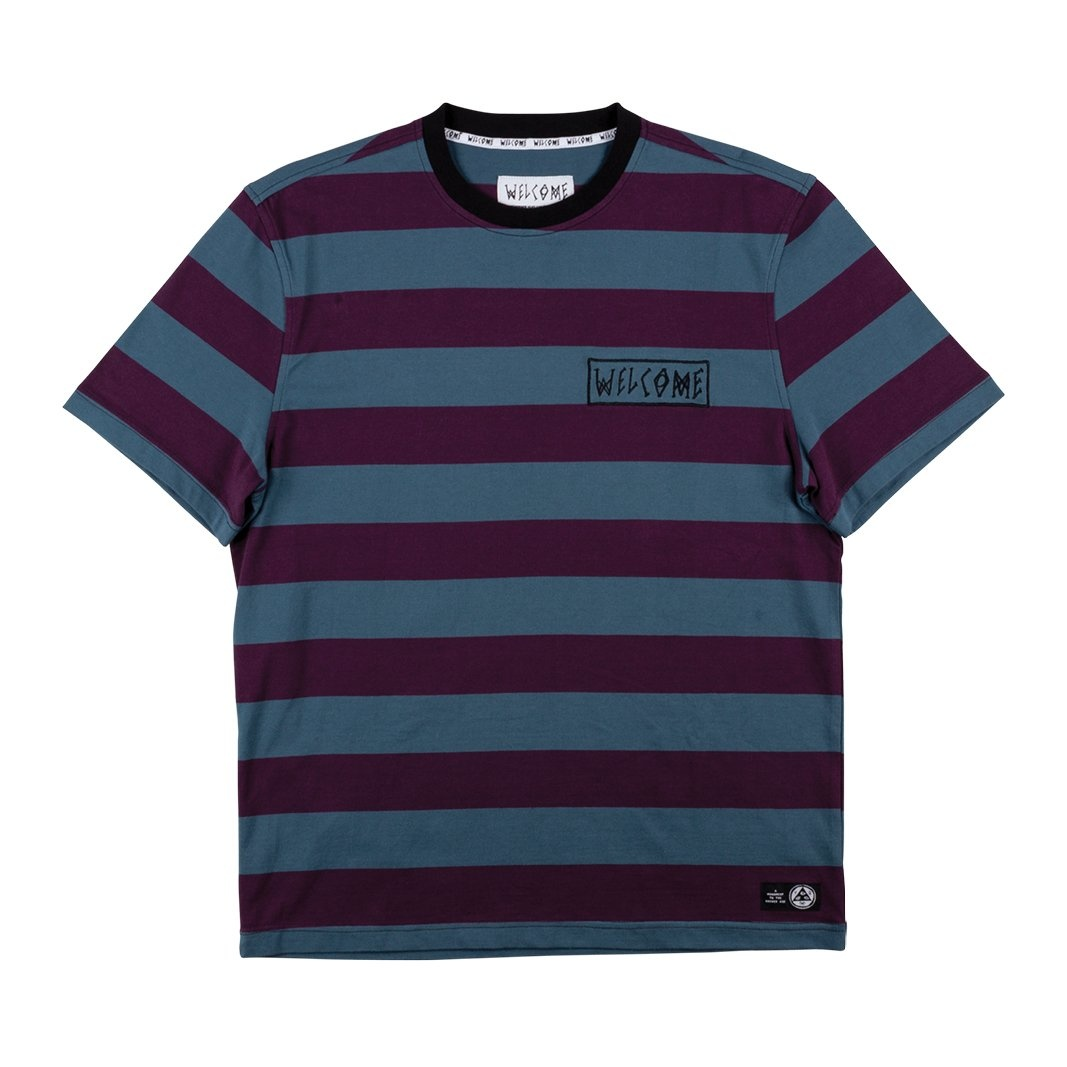 Welcome Skateboards Thicc Stripe Short Sleeve Knit Plum/Slate