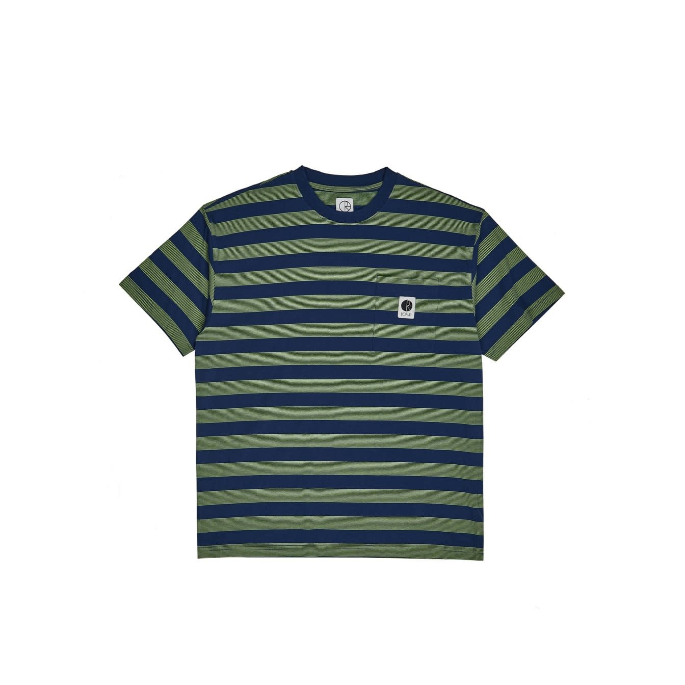 Polar Skate Co. Striped Pocket Tee Blue/Lime