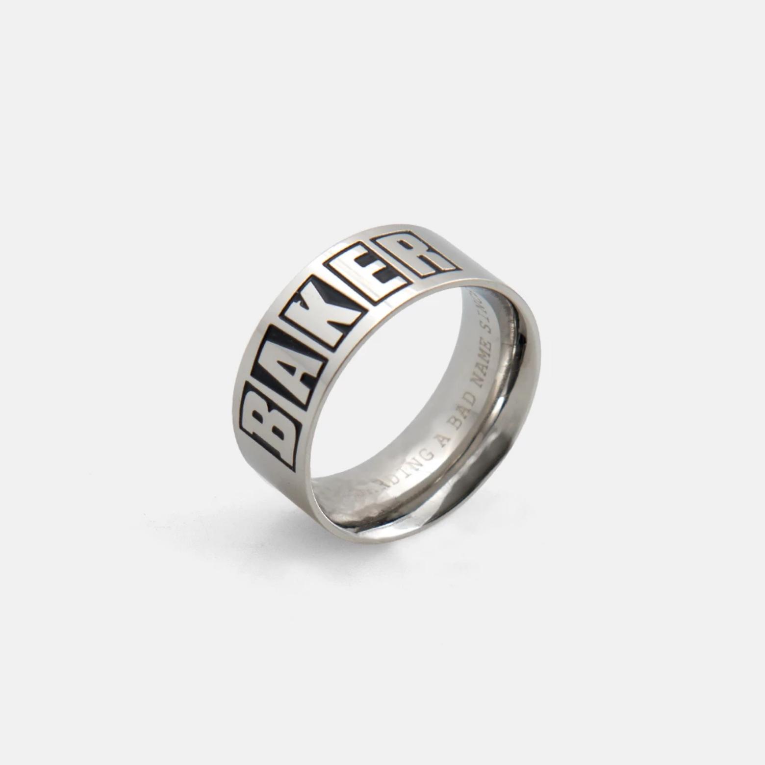 Baker Skateboards Brand Logo Silver Ring