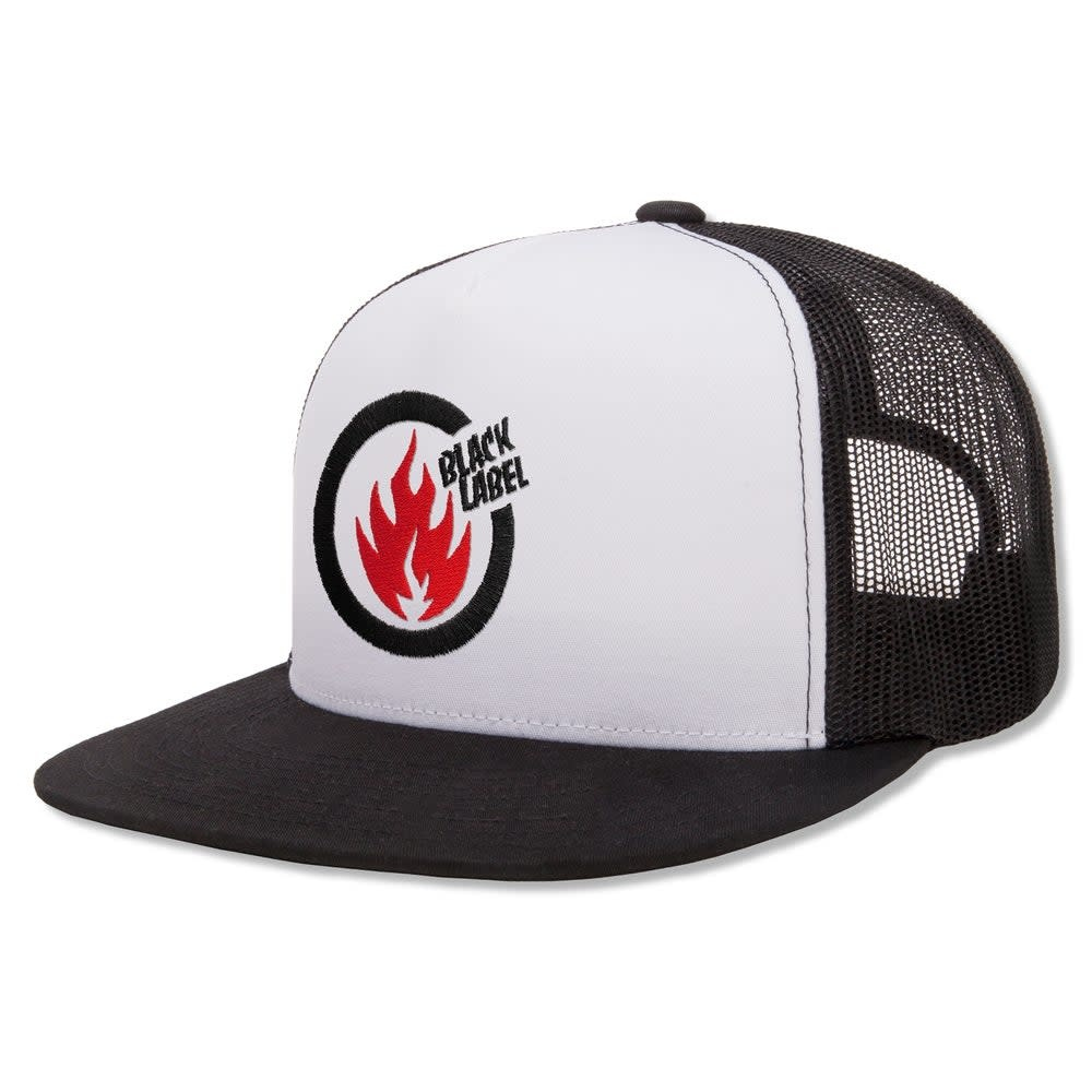 Black Label Thrash Flame Trucker Hat White