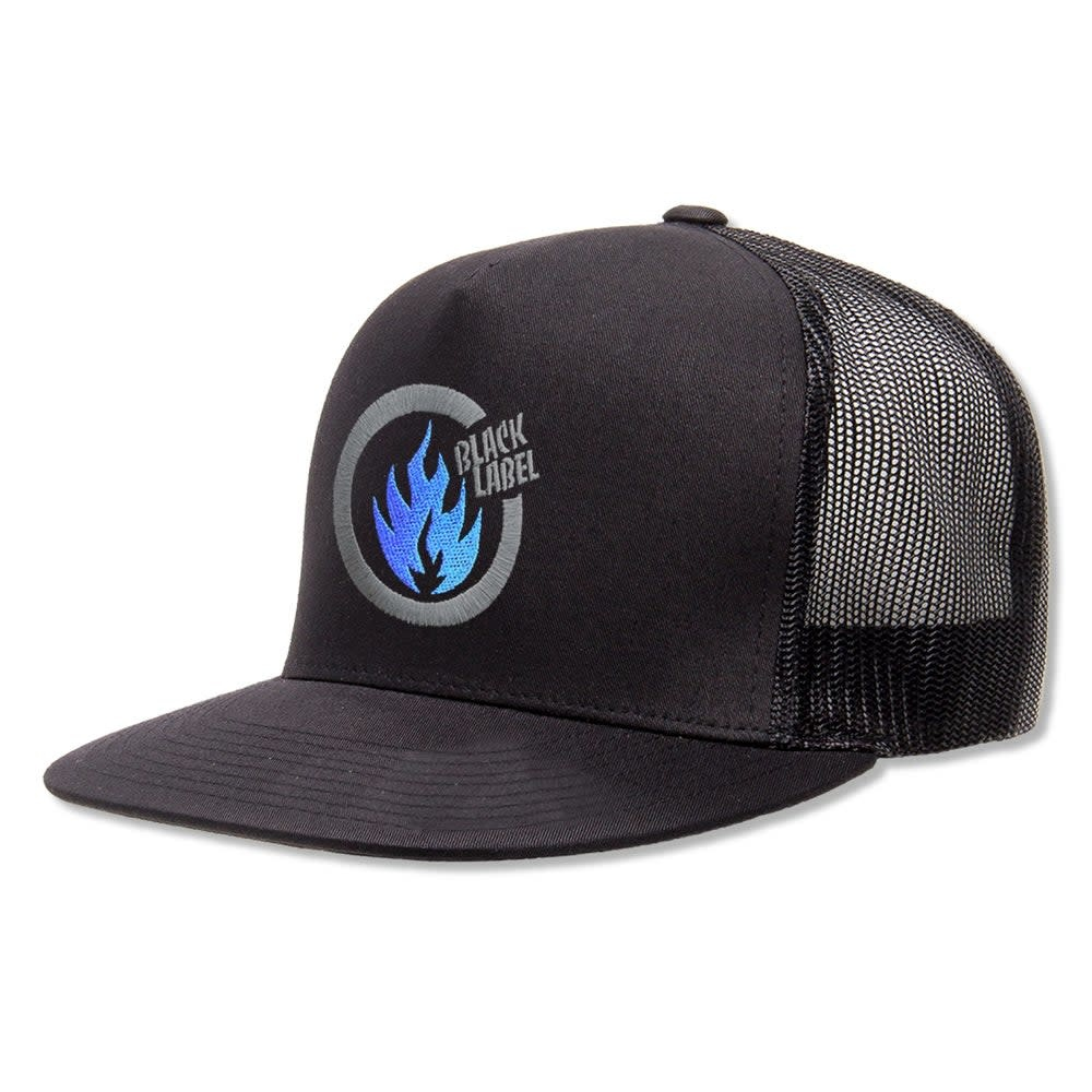Black Label Thrash Flame Trucker Hat Black