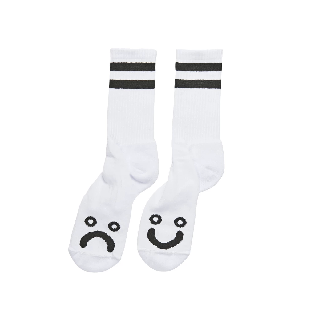 Polar Skate Co. Happy Sad Socks White 39/42