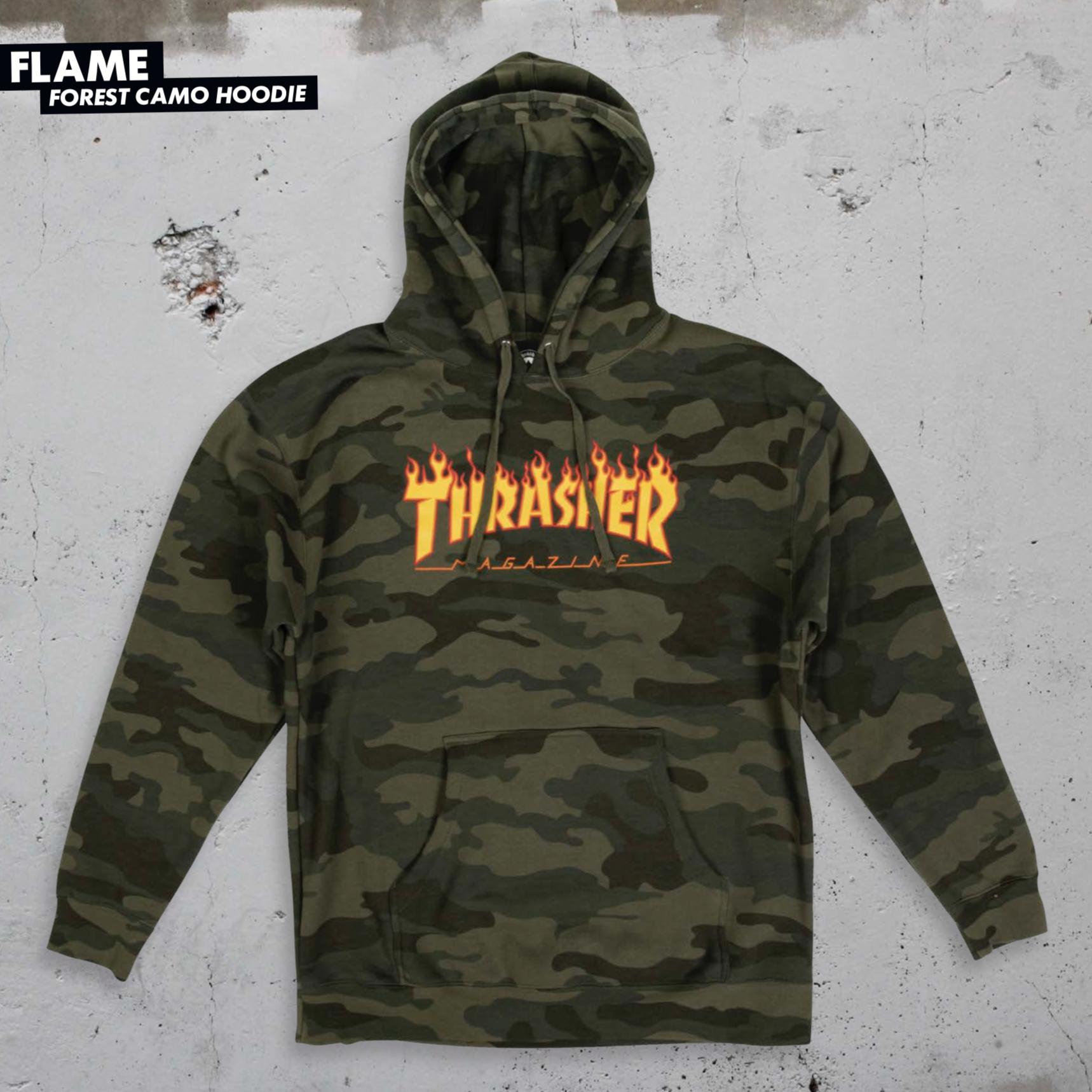 Thrasher Mag. Flame Logo Camo Hood