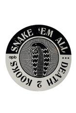 APB Skateshop APB Snake Em All B&W Circle Sticker
