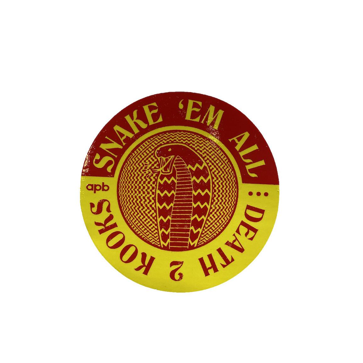 APB Skateshop APB Snake Em All Red&Yellow Circle Sticker