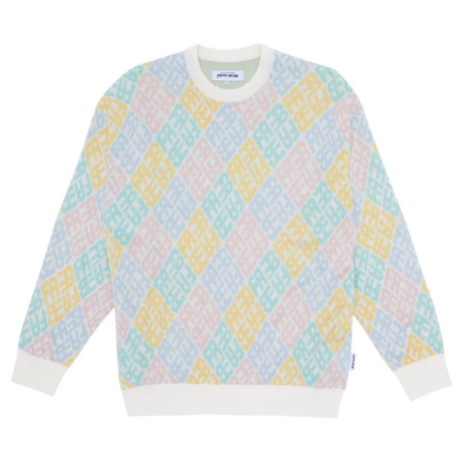 Fucking Awesome Monogram Sweater White/Pink/Blue Size L