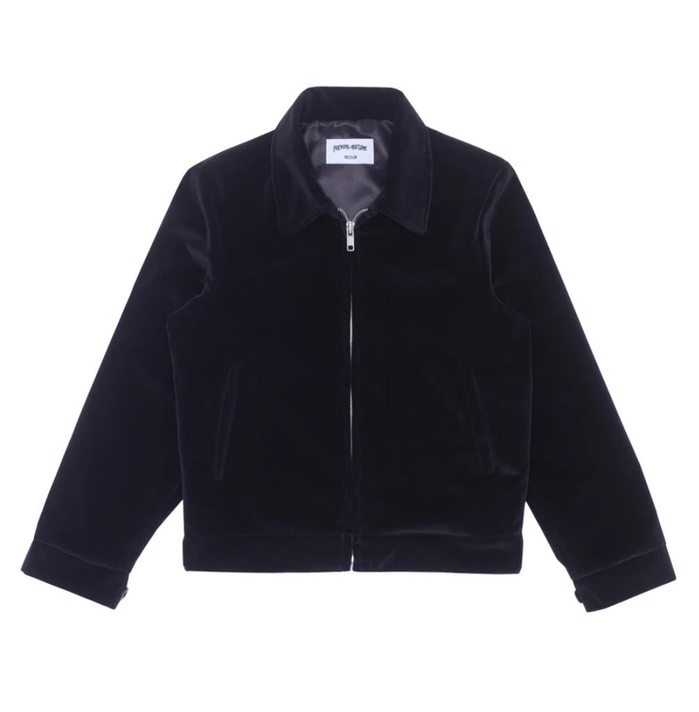 Fucking Awesome Winged Women Velvet Work Jacket Black