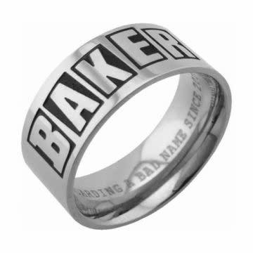 Baker Skateboards Brand Logo Silver Lrg Ring