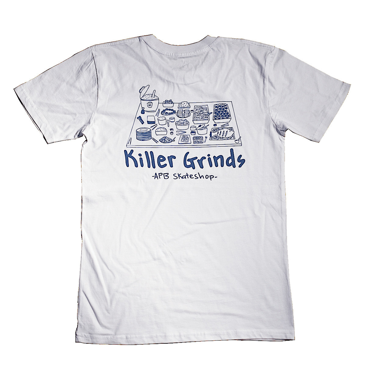 APB Skateshop APB Killer Grinds Tee White w/ Blue