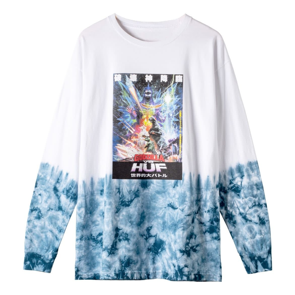 HUF Space Godzilla Tiedye L/S White
