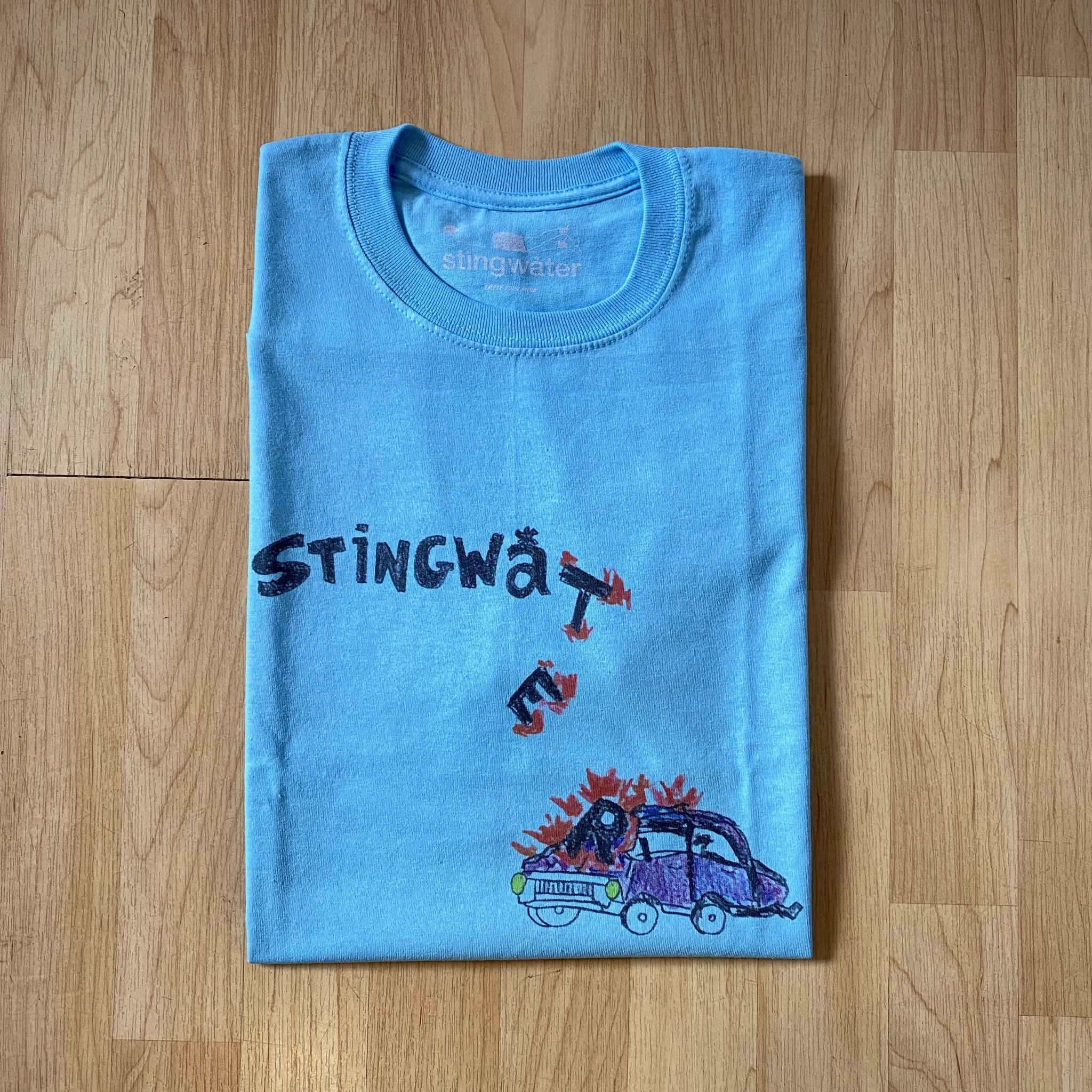 Stingwater Self-Driving Car Aqua Blue Tee