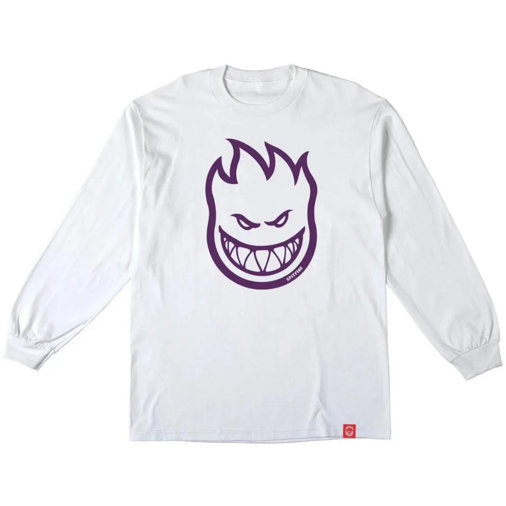 Spitfire Wheels Youth Bighead White/Purple L/S Tee
