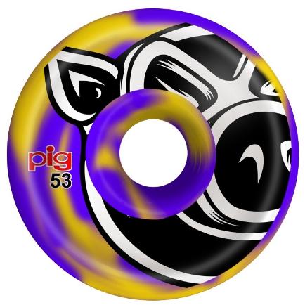 Pig Wheels Pig Head Swirl Purple/Yellow C-Line 53mm