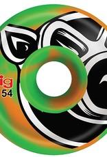Pig Wheels Pig Head Swirl Green/Orange C-Line 54mm