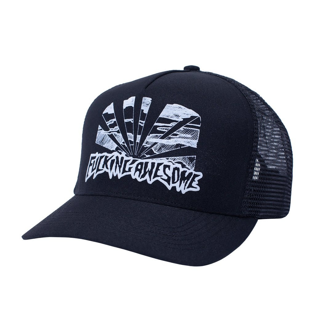 Fucking Awesome Sunset Curved Trucker Hat Black