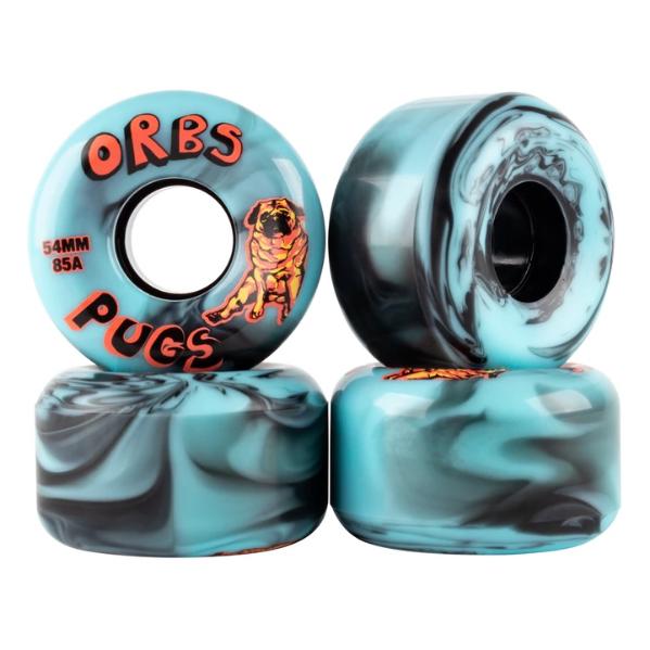 Welcome Skateboards Orbs Pugs Black/Blue Swirl 54mm