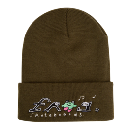 Frog Skateboards Happy Dirty Olive Beanie