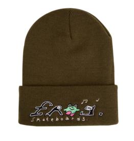 Frog Skateboards Happy Dirty Olive Beanie